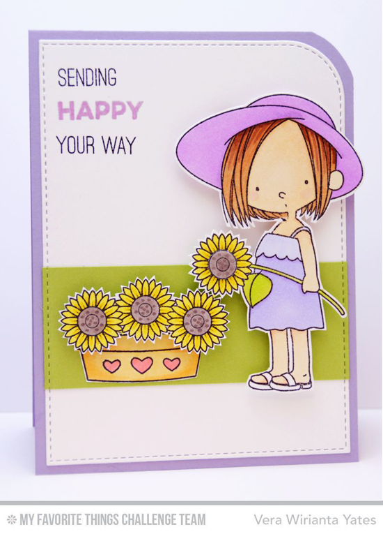 Sending Happy Card from Vera Wirianta Yates featuring the Birdie Brown Sunflower Sweetheart and  Totally Happy stamp sets