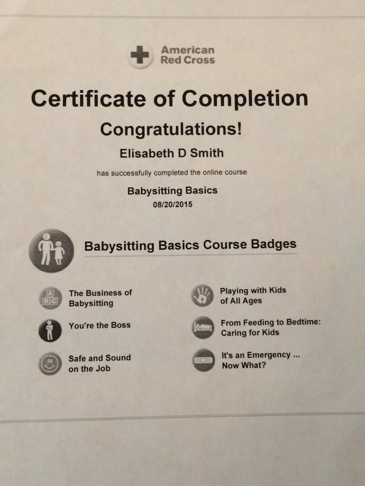 Grateful for the ride rope course chef brad appendicitis red that same day elisabeth finished her online red cross babysitting basics course and we printed out her certificate xflitez Images