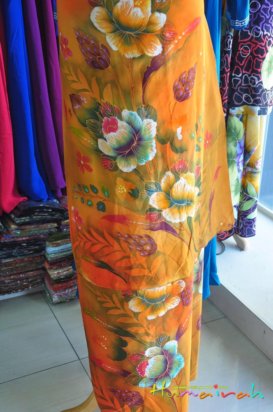 Batik Sutera Handmade Bunga Ros Oren 2