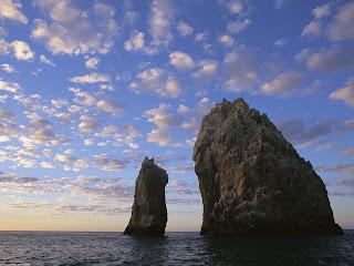 Rock Spires, off the Coast of Cabo San Lucas, Mexico Stock Photos
