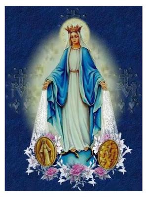 Imagen de la Virgen con Haces de Luz Saliendo de sus Manos y a Sus pies, su Medalla