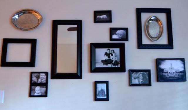 Gallery wall, empty frames, platters