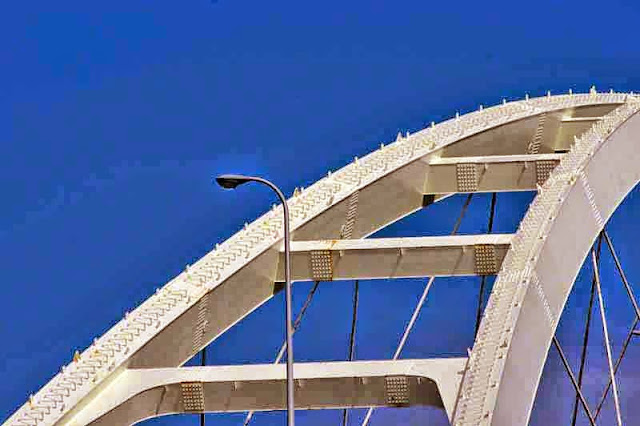 blue cloudless sky, metal, bridge