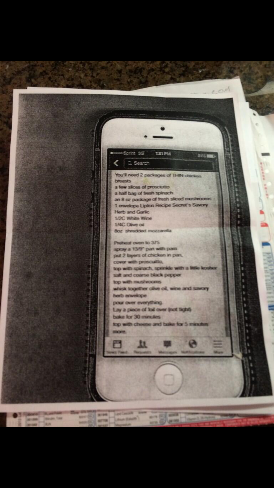 I didn't know to take screenshot so photocopied my iPhone