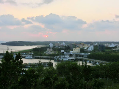 Sunset over Magong city at Penghu Island