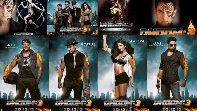 Aamir Khan, Katrina Kaif, Abhishek Bachchan and Uday Chopra in official poster of Bollywood movie Dhoom 3 movie