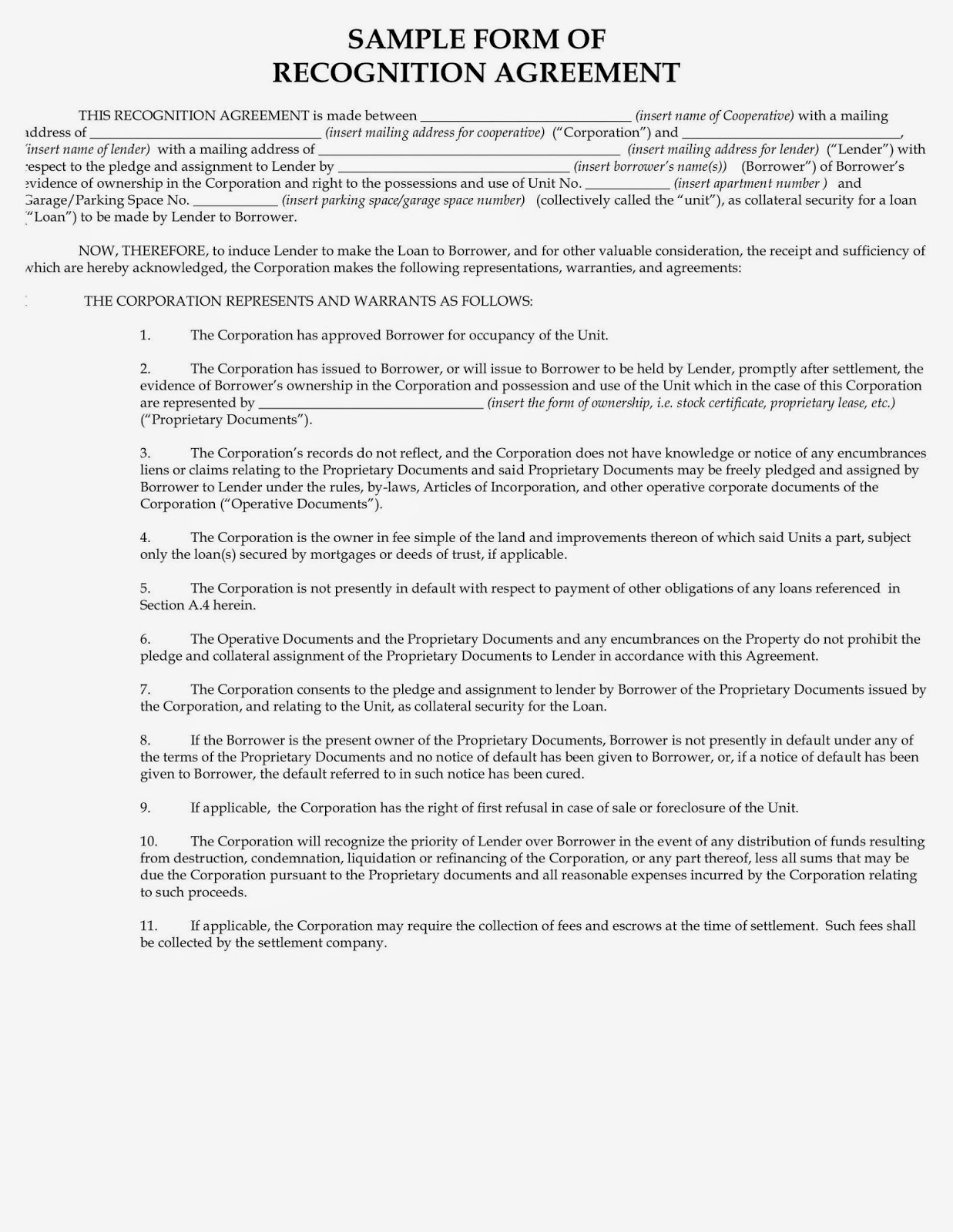 (Sample Recognition Agreement  Pg.1)  Bank Loan Agreement Format