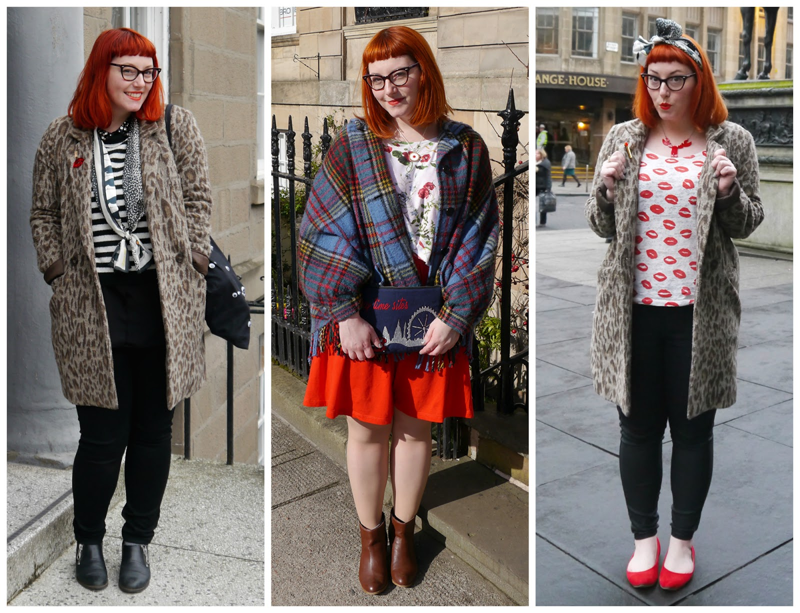 clashing prints, Scottish bloggers, 2015 round up, outfits of 2015, blogger style 2015, red head, ginger, vintage style glasses, leopard print coat, striped jumper, Karen Mabon scarf, penguin scarf, googly eye bag, lip print top, head scarf, scarf bow, Tatty Devine lobster necklace, tartan cape, vintage cape, scottish vintage style, Sugar and Vice necklace