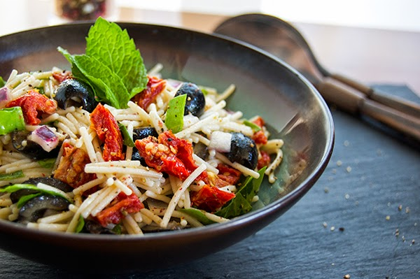 carbs, gluten free pasta salad, orzo salad, safe starches, sun dried tomatoes, vegetables, cold pasta salad, summer cooking, cold summer dishes,