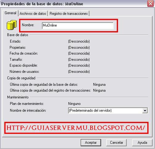 Asignación del nombre MuOnline a la nueva base de datos