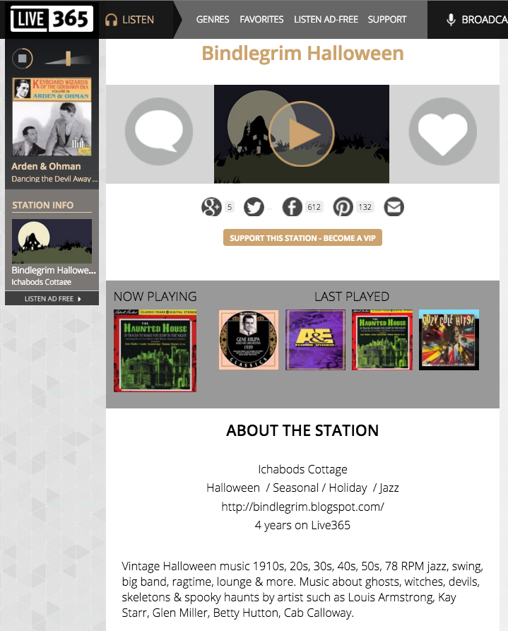 final screenshot of defunct online radio station bindlegrims vintage halloween music station - Online Halloween Music