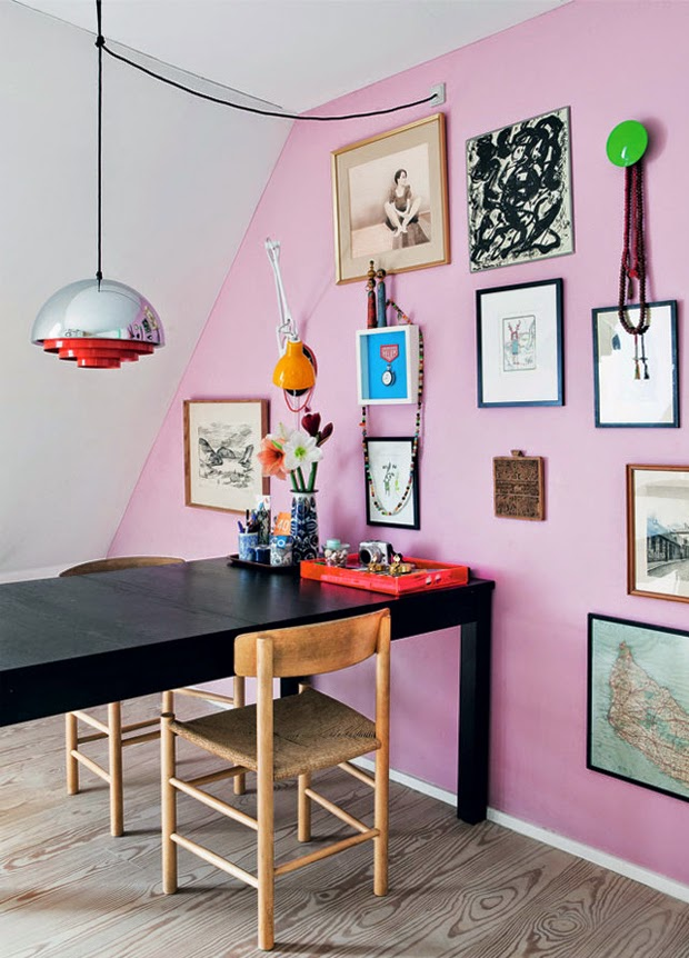 pink wall dining table