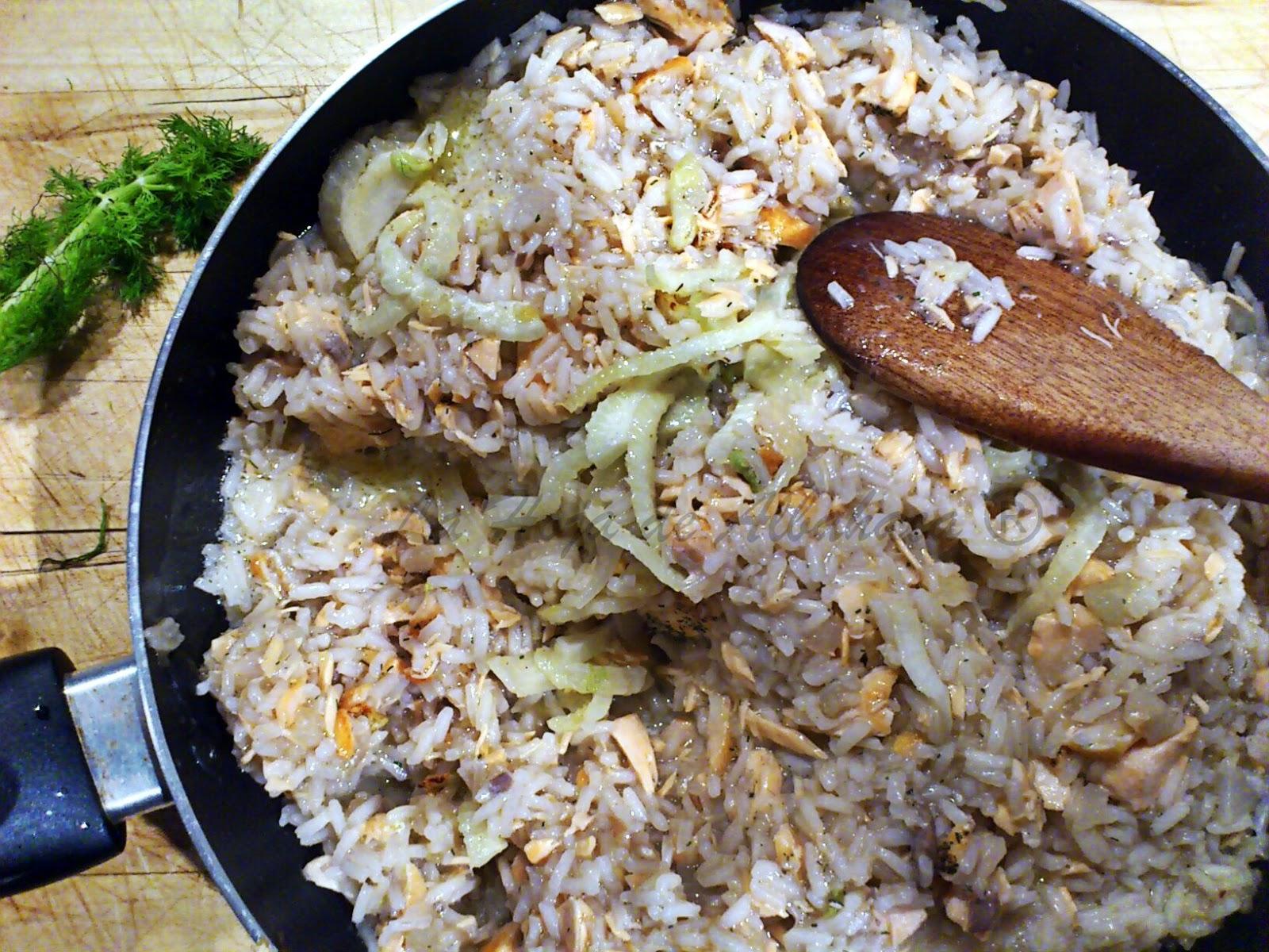 risotto de hinojos y salmón, como hacer risotto