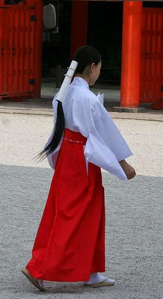 Japanese Women Shaman Miko S Long Hair Animism