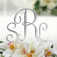 Silver Monogram Letter Cake Picks
