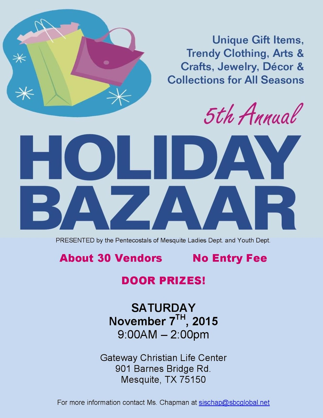 5th annual holiday bazaar at gateway life center 901 barnes bridge rd mesquite tx 75150