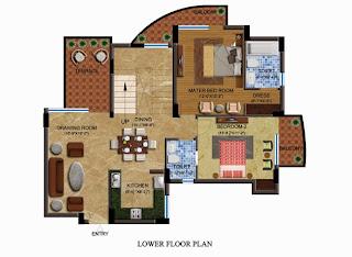 Czar Suites :: Floor Plans:-Arthur 1 - Lower Floor Plan Area - 3417 sq. ft. Terrace Area - 1048 sq. ft.