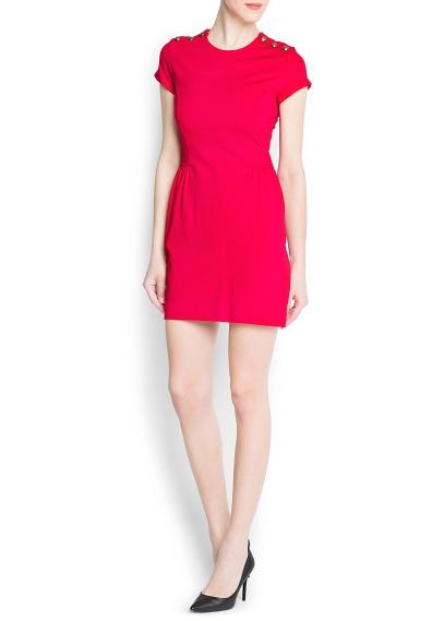 kırmızı omuz detaylı pembe elbise