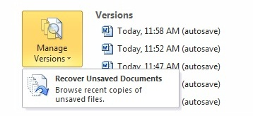 how to find unsaved excel documents