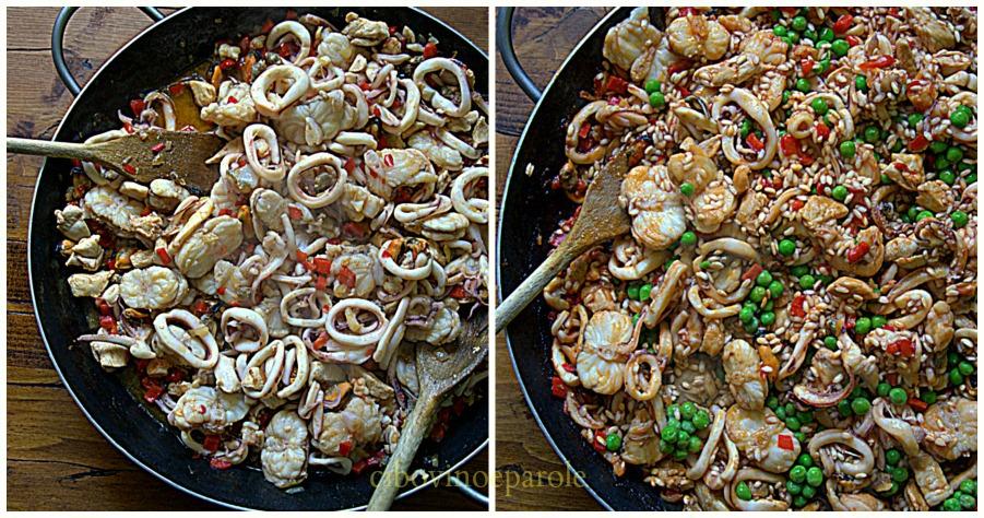 Paella di pesce ricettta e procedimento