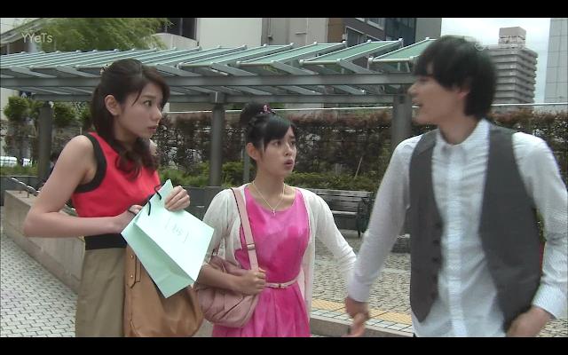 Grabbing Kotoko's hand, Naoki calls his date short with Matsumoto.