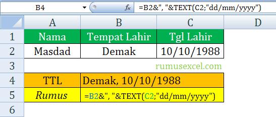 menggabungkan text dan date di excel