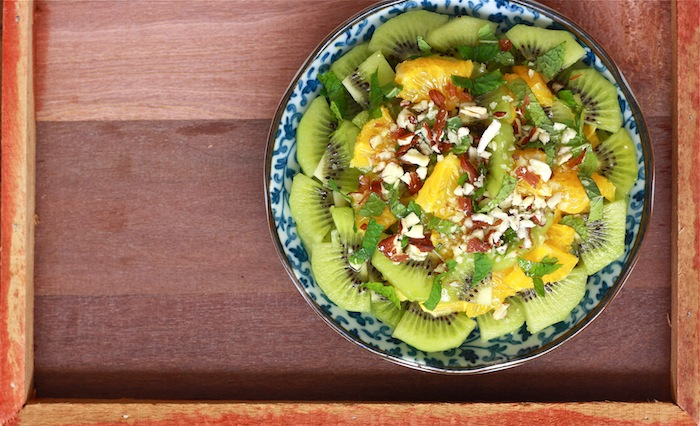 Minty Fruit Salad with Honey-Ginger Dressing by SeasonWithSpice.com