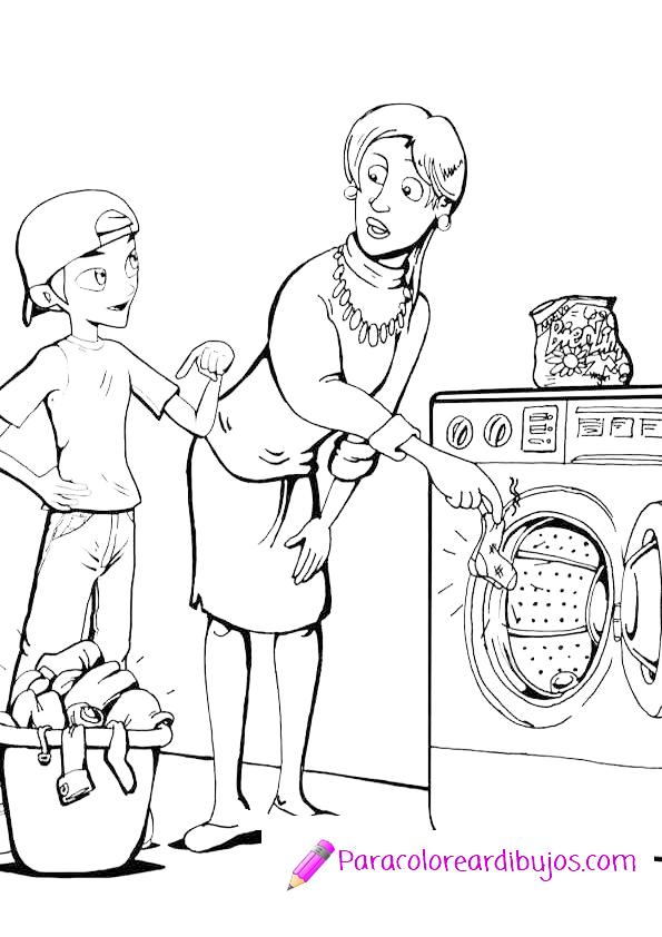 Lavar la ropa para colorear