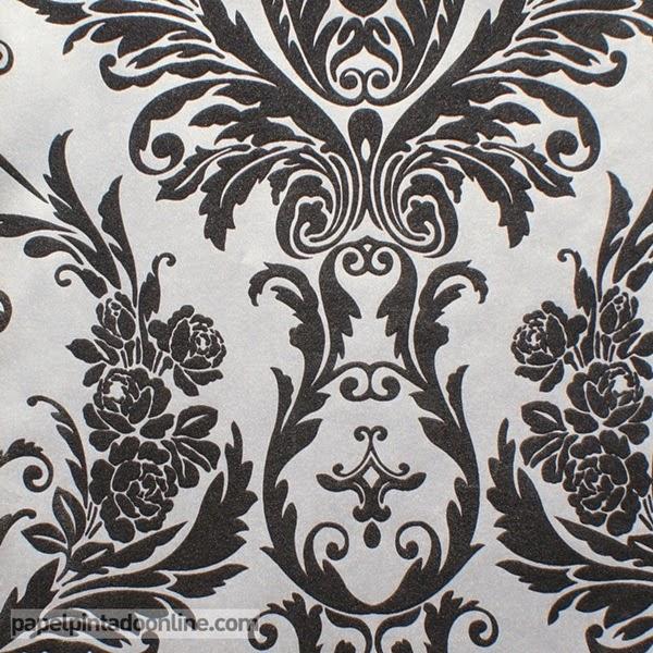 Papel pintado papeles pintados baratos maderas piedras y damascos - Papel pintado negro ...