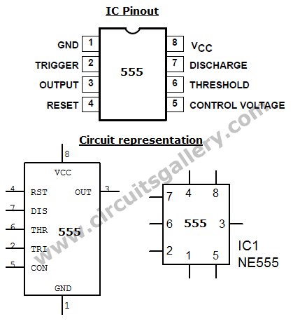 555+timer+pinout Astable Multivibrator using NE 555 timer IC  Circuit diagram and working