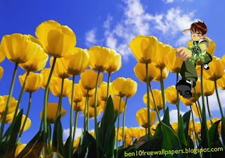 Ben 10 Ten desktop Wallpapers Ben Ten Running in Flowers Tulips Field desktop wallpaper