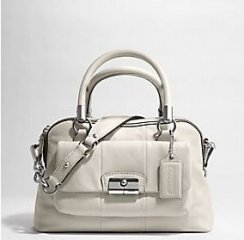 nwt coach leather kristin satchel bag purse 14782 white