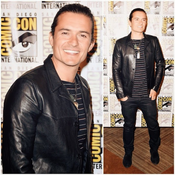 Orlando Bloom in Saint laurent by Hedi Slimane leather jacket and striped t-shirt at The Hobbit - The Battle Of The Five Armies Press Line - Comic Con International 2014