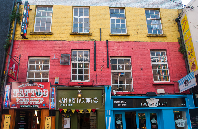 Colorful buildings on temple bar in Dublin Ireland
