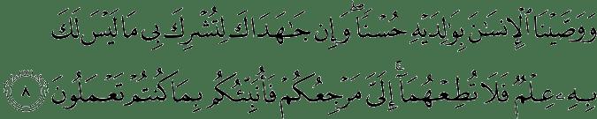 Surat Al 'Ankabut Ayat 8