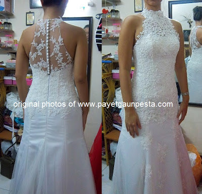 Payet Gaun Pesta: Full Brocade Halter Neck Wedding Dress and