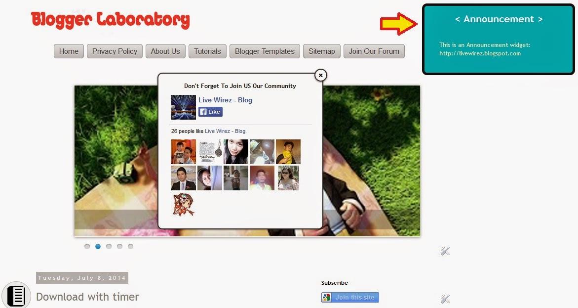 Create An Announcement Widget for Blogger