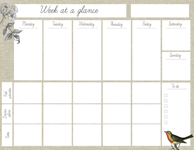 Imprimible Planificador semanal - free printable weekly planner