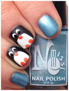 Penguin nail art, Happy Feet 2 manicure, 31 day nail challenge, day 23, inspired by a movie, penguin nails, dotting tool, natural nail polish, vegan nail polish, big 3 free, big 5 free, No-Miss Arcadia Aqua, Zoya Snow White, Zoya Dovima, SpaRitual Street Smart, SpaRitual Solaris, animal nail art, matte black