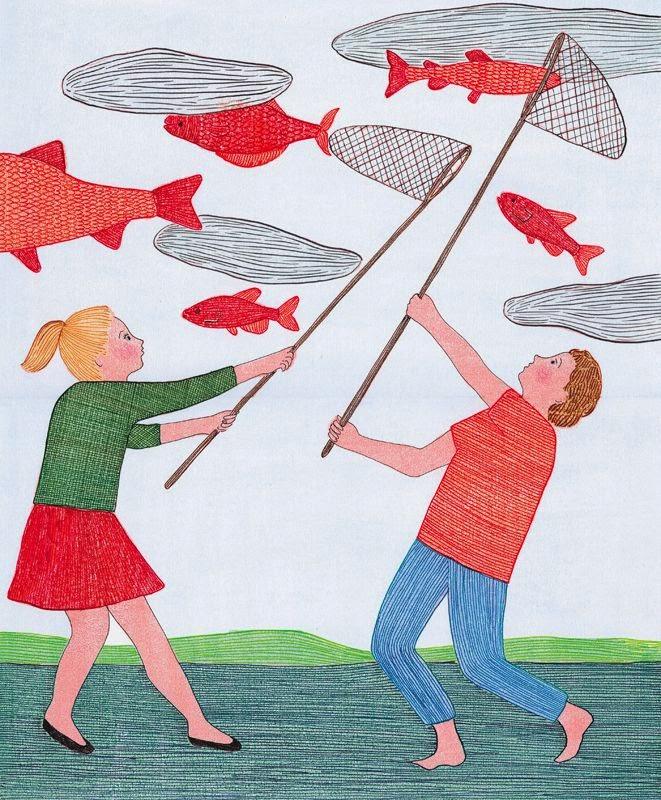 deux enfants a la peche aux poissons illustration par Marion Favolle