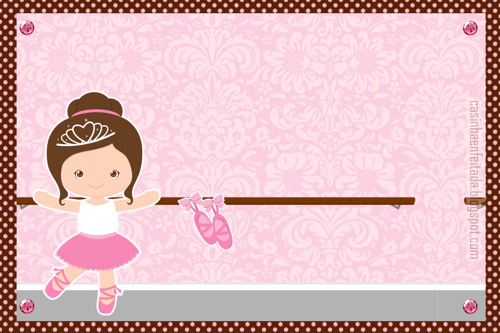 Aparador Gama ~ Casinha de Criança Kit Festa Bailarina Marrom e Rosa Para Imprimir