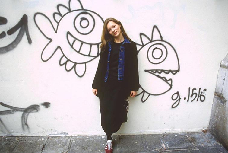 Kate Moss 1993 black & denim Adidas Gazelles