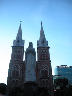 Statue of Virgin Mary in front of the Cathedral of Notre Dame. Ho Chi Minh City. Vietnam