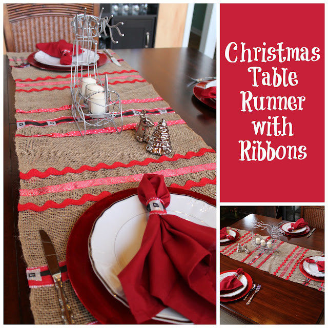 Christmas Table Runner with Ribbons