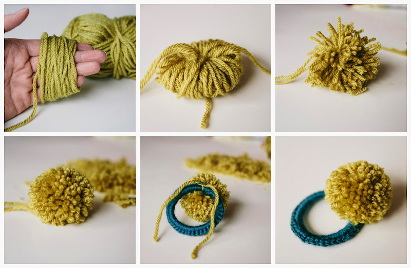 ... bit of sunshine: make something monday :: crocheted pom pom hair ties