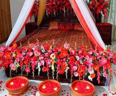 Wedding bedroom decoration design home decoration and for Marriage bed decoration photos