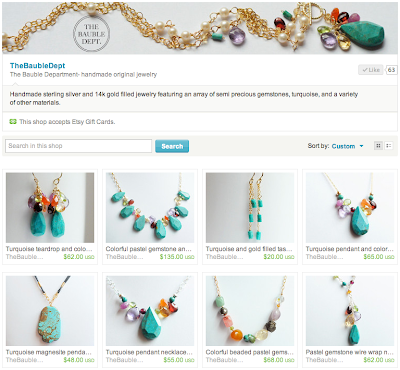 The Bauble Dept. Etsy jewelry shop