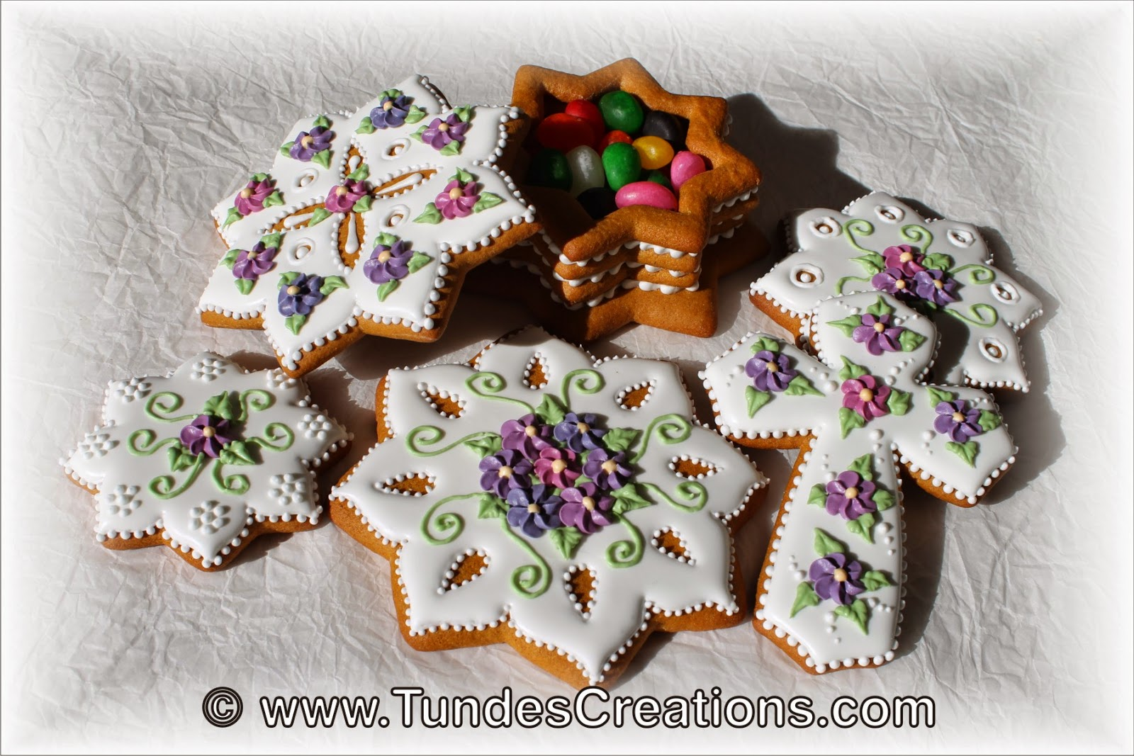 Easter cookies with purple drop flowers
