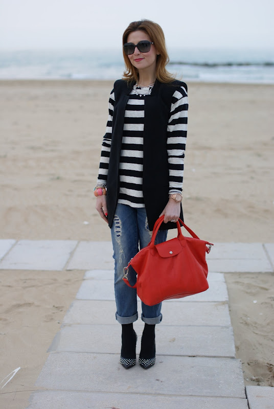 Longchamp Le Pliage cuir, Fashion and Cookies, striped top