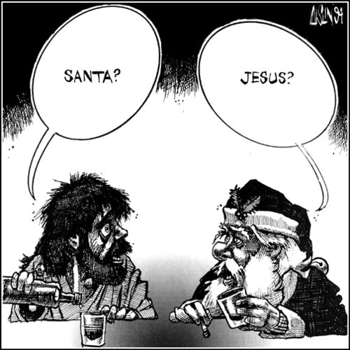 Funny Imaginary Beings Anonymous Society - Jesus meets Santa Picture